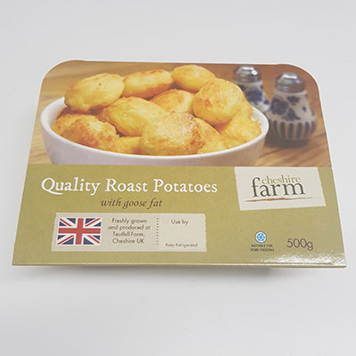 Quality Roast potatoes, Cheshire Farm Chips