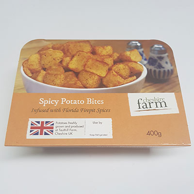Spicy Potato bites, Cheshire Farm Chips