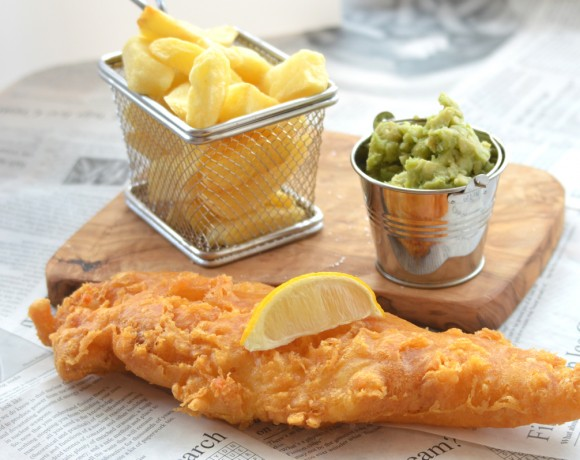 Traditional Fish, Chips and Mushy Peas