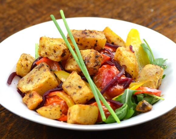 Roast Vegetable Salad with Cheshire Farm Spicy Potato Bites