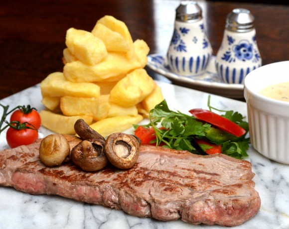 Steak with Cheshire Farm Chips & Peppercorn Sauce