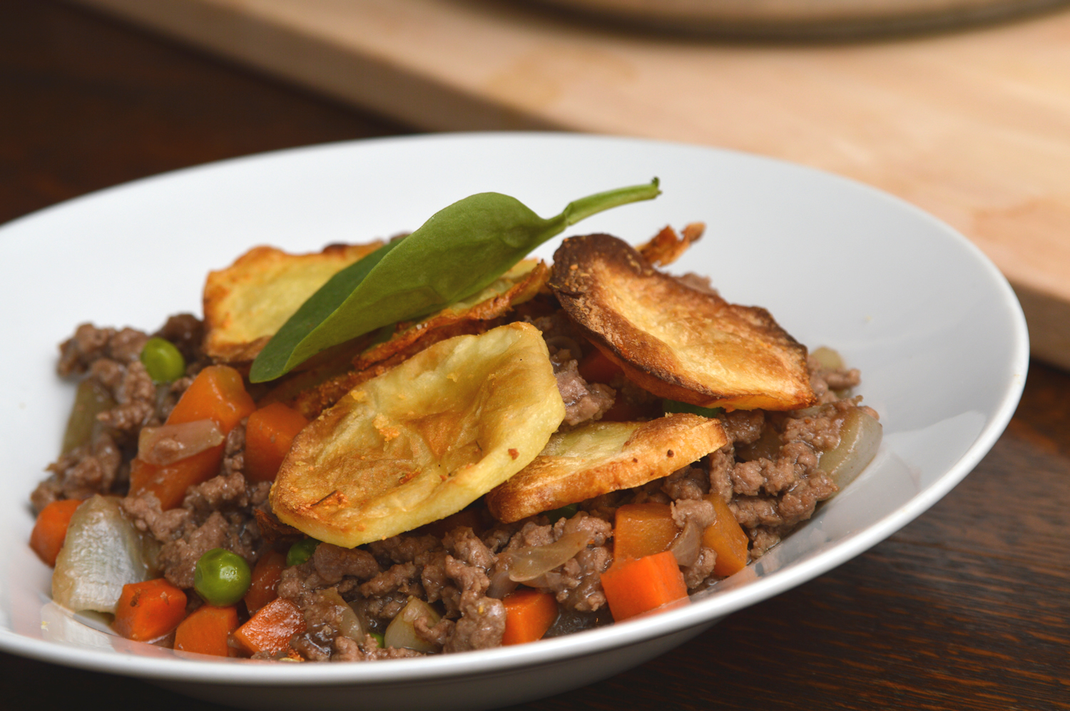 Cottage pie topped with Cheshire farm chips sliced potatoes meal ideas