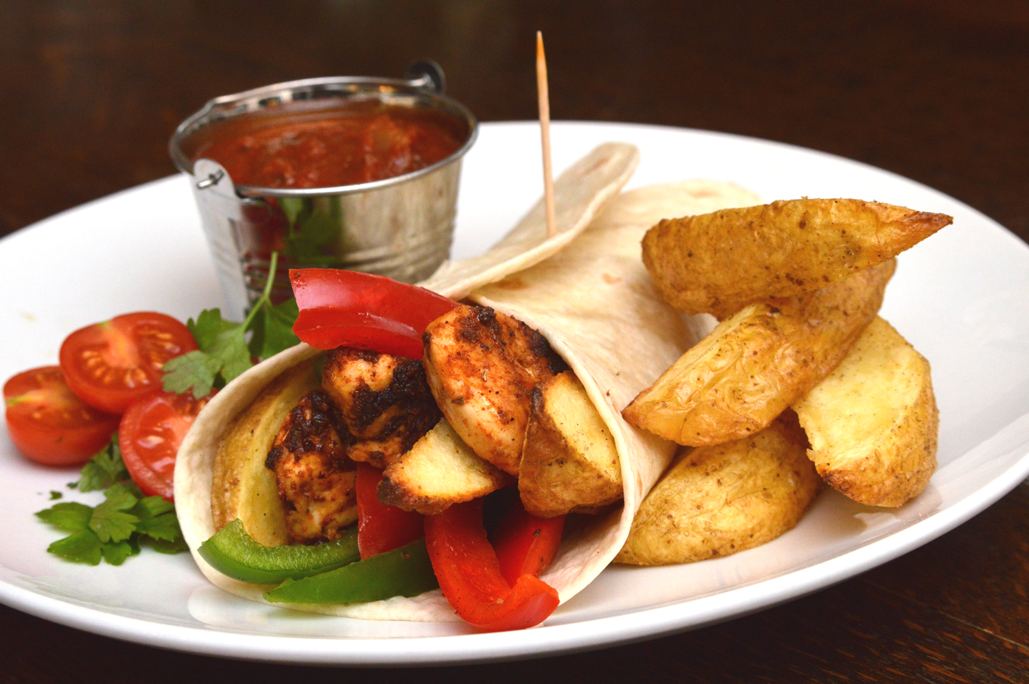 Fajitas with cheshire farm chips wedges meal ideas