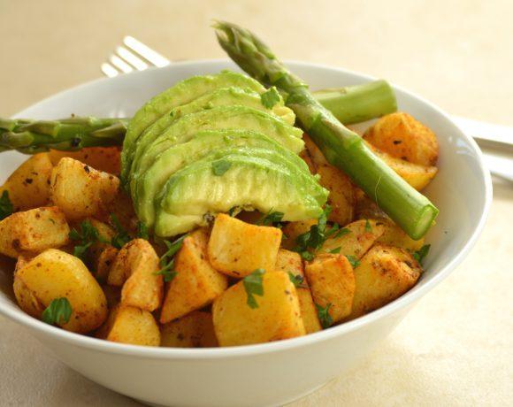 Cheshire Farm Spicy Potato Bites with Avocado & Asparagus