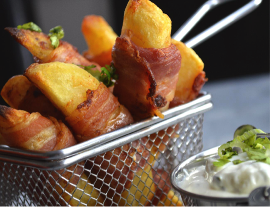 Bacon wrapped cheshire farm Chips meal ideas