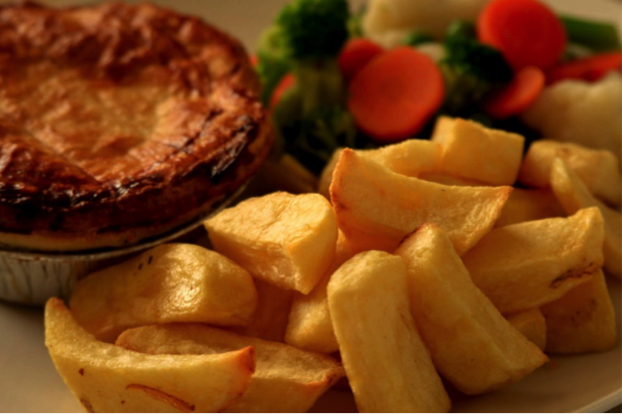 Classic pie and Cheshire Farm Chips meal ideas
