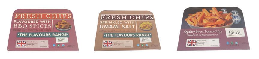 The Flavours range from Cheshire Farm Chips; BBQ Spices, Umami Salt, Sweet Potato Chips