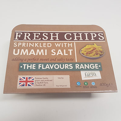 Fresh Cheshire Farm Chips sprinkled with Umami salt, part of the flavours range